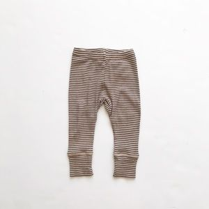 Caramel tan/black ribbed leggings EUC 6 months